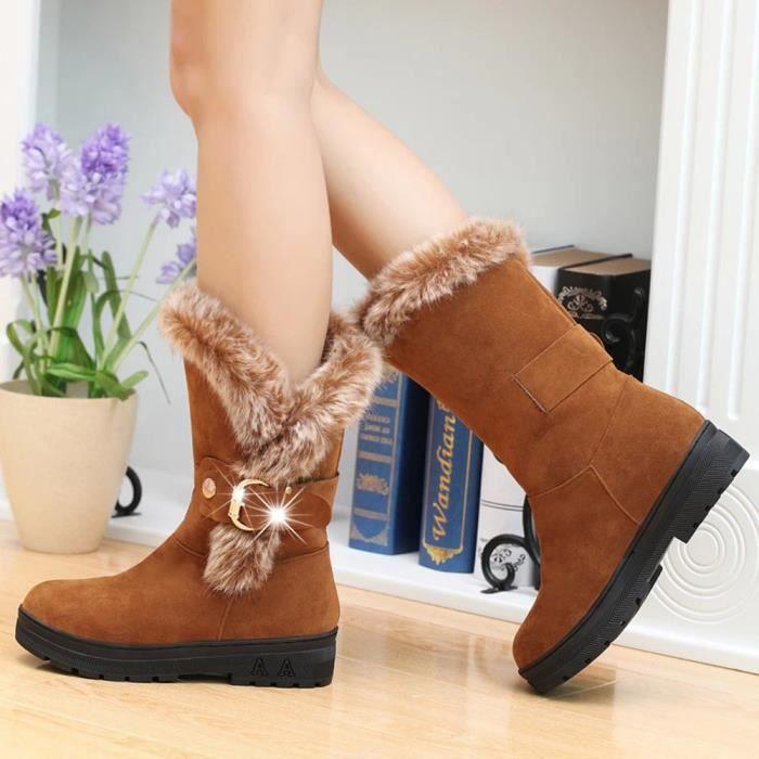 Femmes Bottes Slip-On Soft Bottes de neige bout rond plat fourrure d'hiver Bottines
