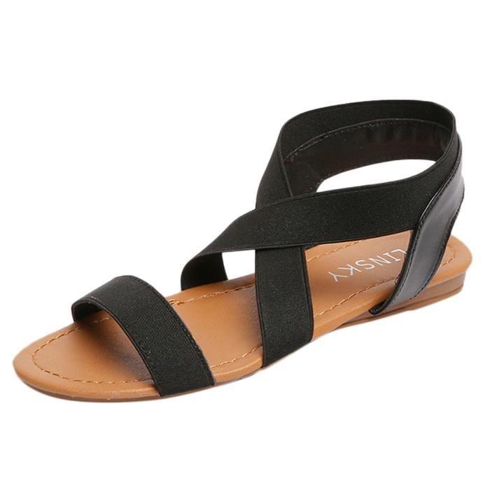 Croix Strap Femmes Talon Faible toe Bleu Sandales Les Peep À Anti Débardage Chaussures Plage 18qfgx