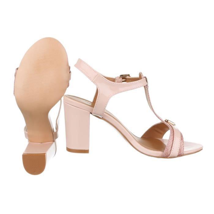 fermoir High escarpin soirée Club rose escarpin Heel Chaussures T Élégant femme Fête chaussure sandalette de 7zAFqA
