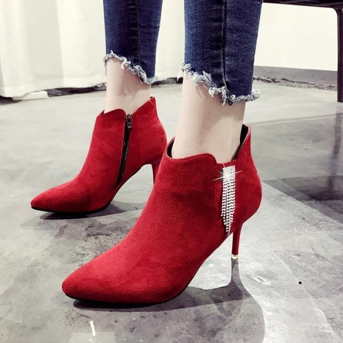 Automne et hiver les femmes & # 39; bottes à talons hauts bottes bottes unique 2017 nouvelles chaussures fines avec des chaussures 7wwXTkTH