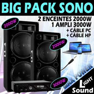 PACK SONO PACK SONO DJ 7000W TRES PUISSANT ! 2 ENCEINTES 200
