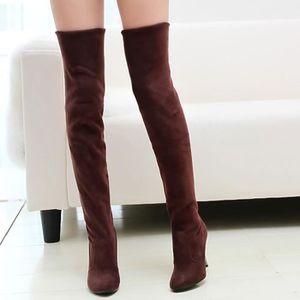 Sidneyki®Point Toe femmes à talons hauts bottes automne hiver femmes montées chaussures simples marron WE588 UskZuKMbHt
