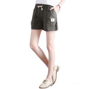 SHORT Short Femme Lin Lache Taille Elastiquee Couleur Un 743f48c774a