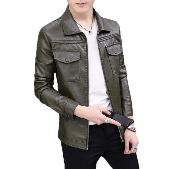 Marque Luxe La Simili Vêtements D'automne Veste Revers Mode Vêtement En Cuir Masculin Slim Homme De A qyWtpRgtc
