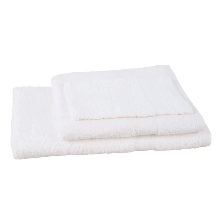 JULES CLARYSSE Lot de 1 serviette + 1 drap de bain + 1 gant de toilette Élégance - Ivoire