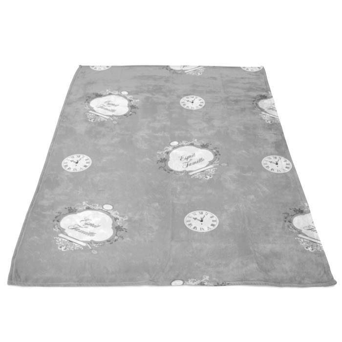 SOLEIL D' OCRE Couverture polaire microfibre Esprit de Famille - 180 x 220 cm - Gris