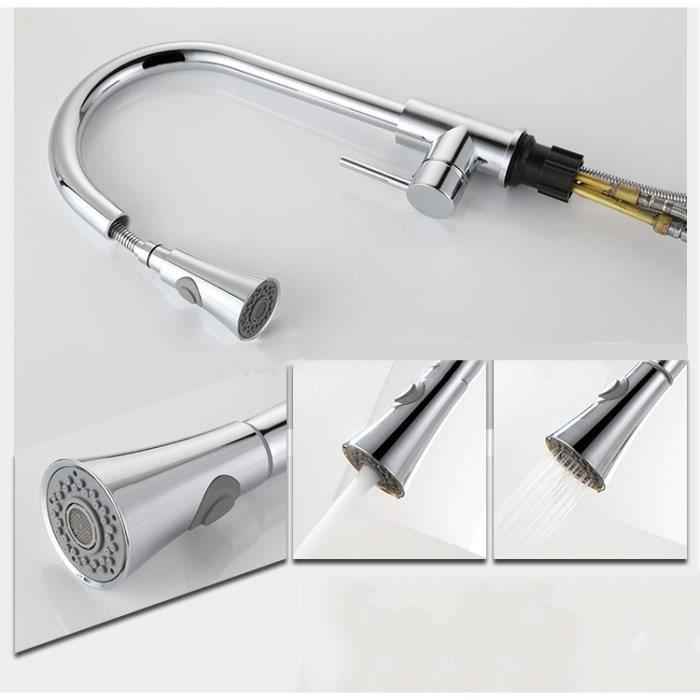moderne poli robinet d\'évier en acier inoxydable Chrome Bec Robinetterie  avec Pull-douchette mitigeur simple trou de luxe mitigeur