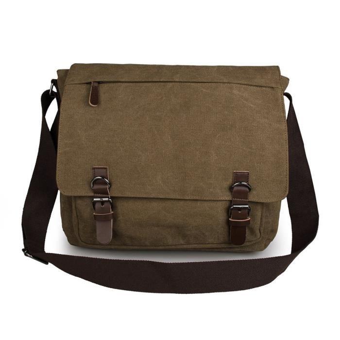 Body en cuir Vintage Canvas Cross Laptop Messenger Bag épaule SFA15