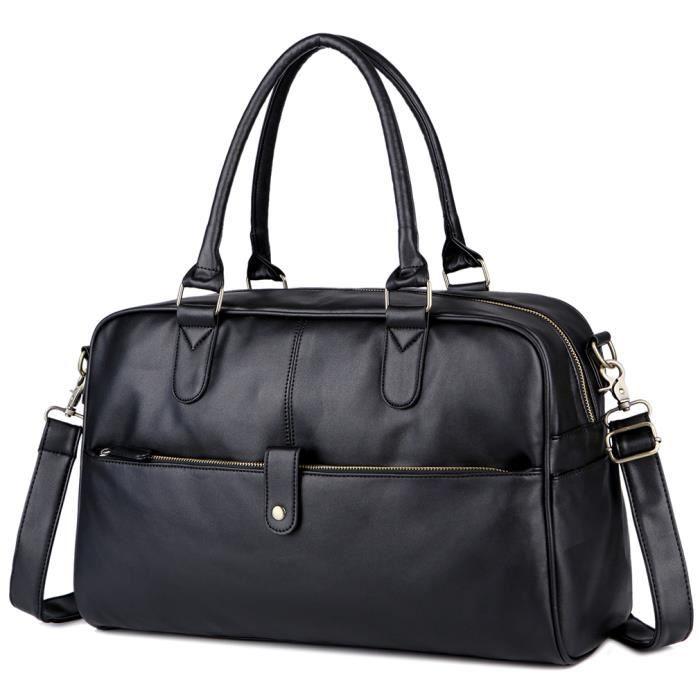 sac à mainHommes Voyager Homme Qualité Duffle grande capacité Bagages Sac Noir Marron -2454