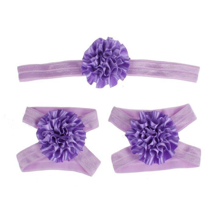 Napoulen®Pied fleurs coloré pieds nus sandales et bandeau ensemble pour bébé enfant fille-XPP10202127 jegkQn
