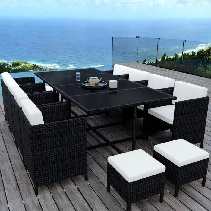 MUNGA 12 Places - Ensemble encastrable salon - table de jardin résine  tressée-Noir-Ecru