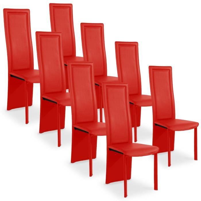 lot de 8 chaises rouge - achat / vente lot de 8 chaises rouge pas