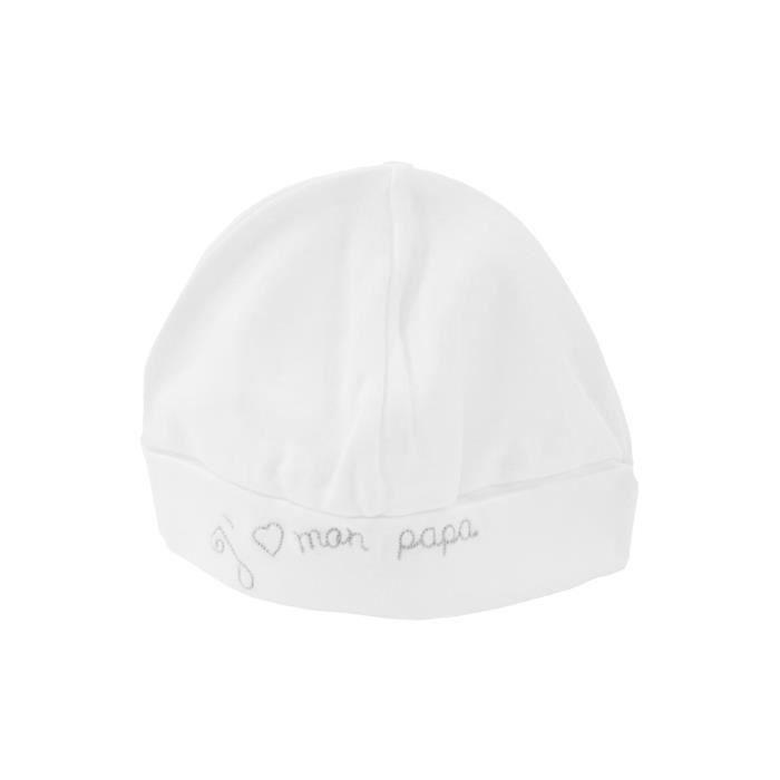 Bonnet pour bébé 0 à 6 Mois blanc et gris - J aime mon papa Blanc et ... 30cf62ee604
