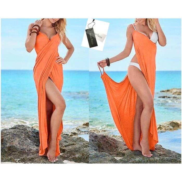 Dresstells Robe de plage femme longue sexy col V femme serviette de bain multifonction
