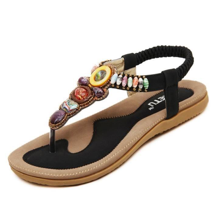 Sandales femme nouvelle Bohème perles confortable plat plus taille 35-42