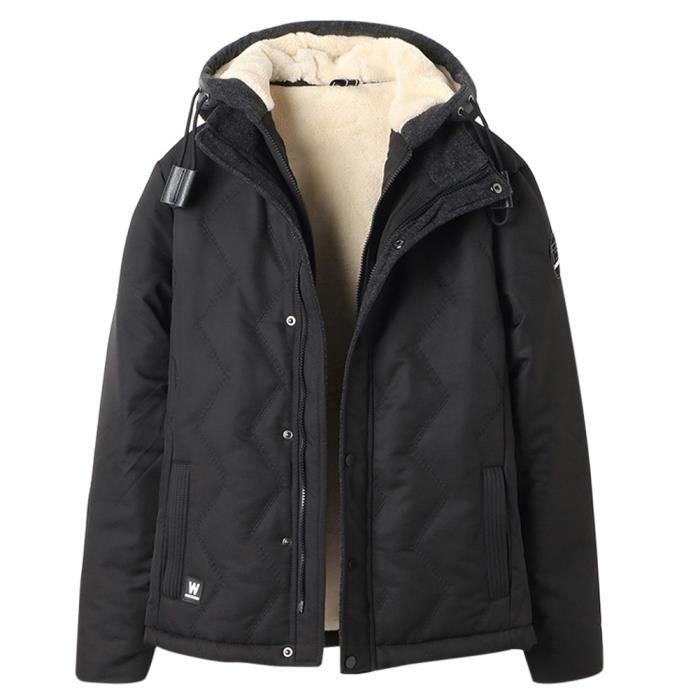 Manteau structuré homme effet mouton à l\'intérieur à capuche ...