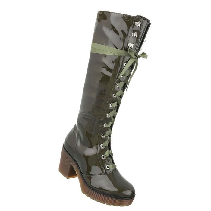 Chaussures femmes bottes laçage vert 41