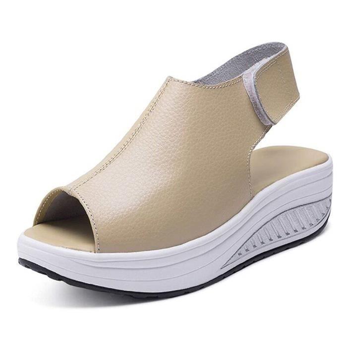 ff891c4239650b Femmes Été Chaussures À Talons Hauts Confortables PU Cuir Peep Toe Wedge  Épais Sole Compensées Plateformes Velcro Sandals