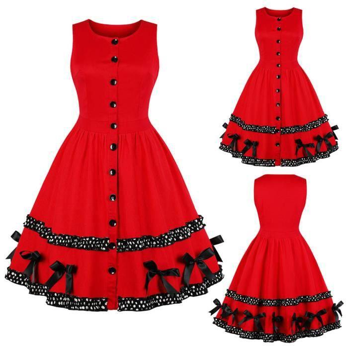 Femmes Soirée Rockabilly Midi Vintage Les Rouge Swing Bowknot Robe De Noël lJ3FcK1T