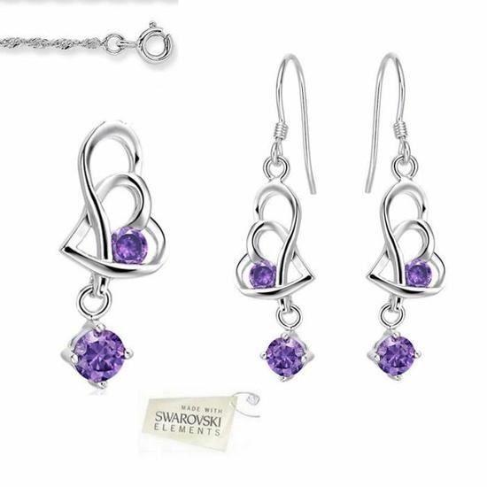 Parure Bijoux Double Coeur Swarovski elements Violet Argent 925