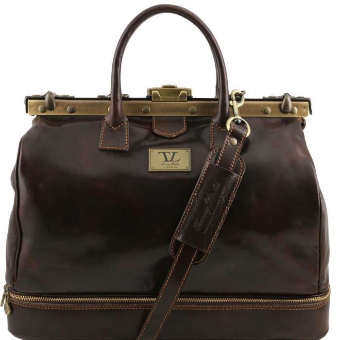 Tuscany Leather - Barcelone - Sac de voyage en cuir avec double fond Marron foncé - TL141185/5 K3Tjz