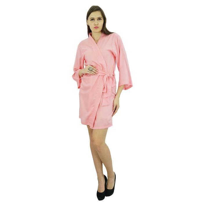 Robe Ronde Coton Femmes Solide Modal Peignoir Ordinaire Wrap Ceinture Rose Souple Courte Bimba OwZWqtff