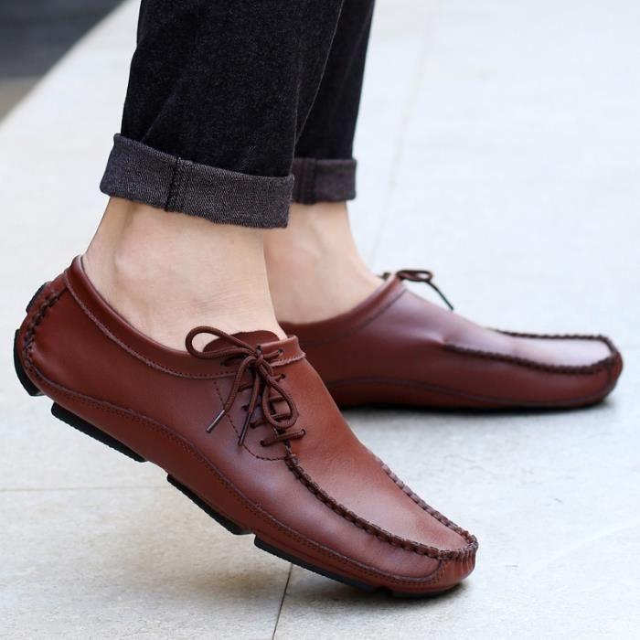MOCASSIN pour Hommemarron 13 Chaussures en cuir simple d'homme Slip Shoes Chaussures de conduite_47115