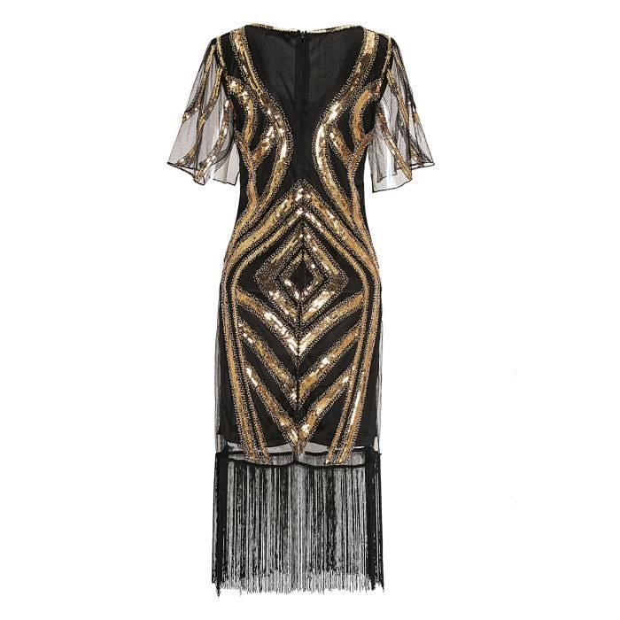 Womens 1920s Retro Open Fork Sleeve Sequined Beaded Gatsby Flapper Dress For Prom Party 2CQQ37 Taille-34