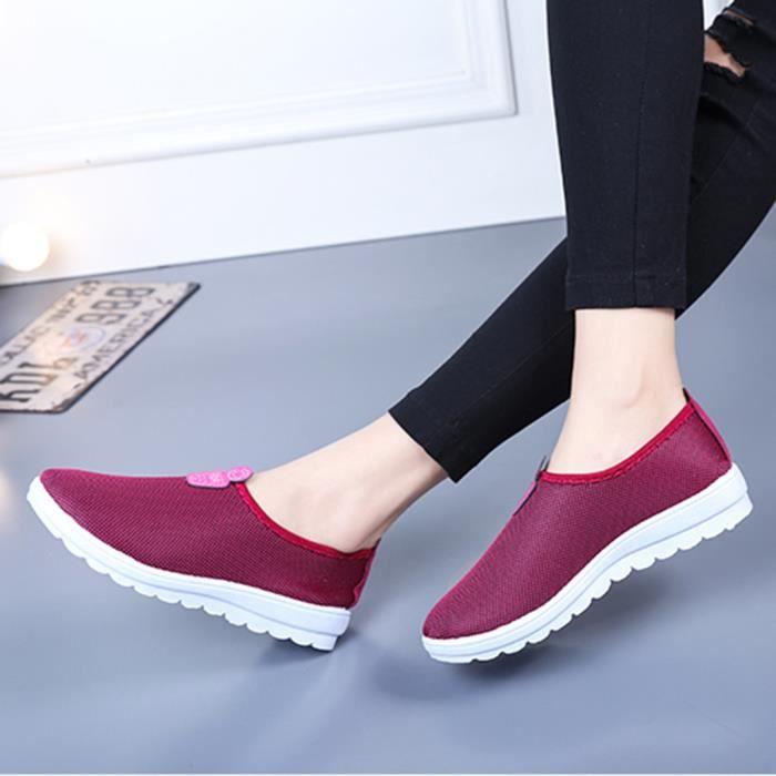 Marche Sneakers Femmes Slip Sur Coton Sport Solide Casual Mocassins Chaussures Le HYqOH