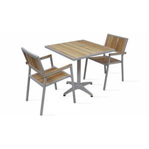 Salon de jardin - Table carrée et 2 chaises en alu et bois extérieur ...
