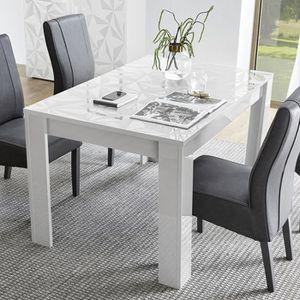 TABLE À MANGER SEULE Table extensible 137 cm blanc laqué design NINO L