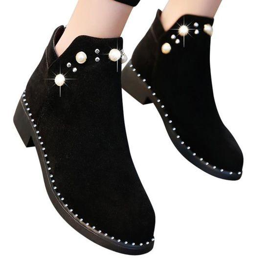 Vintage Femmes Boot perle Chaussures Martain Bottes plates en daim Bottines Zipper Boot Noir Noir - Achat / Vente botte