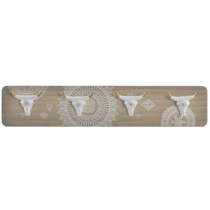 Porte-manteau mural Cornes en bois et résine - 48x9,5x4,5 cm