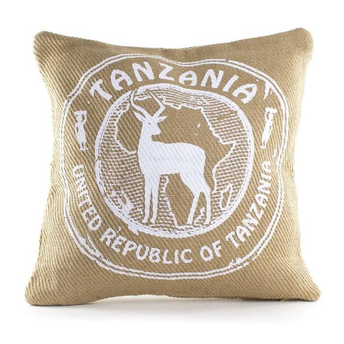 ANDORA Coussin déhoussable MOCA TANZANIA 45x45 cm beige et blanc