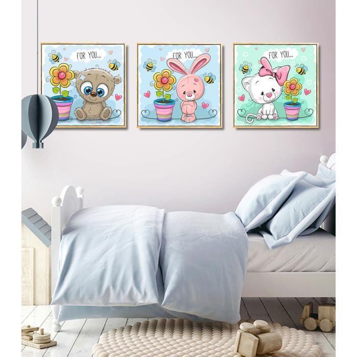Mignon Animal Lapin Toile Image No Frame Home Decor Art mural(No Frame,40x40cmx3pcs)
