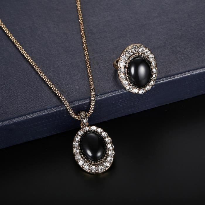 Benjanies®Femmes zircon pendentif boucles d'oreilles Collier Bague mariage bijoux ensemble_XMM9121378