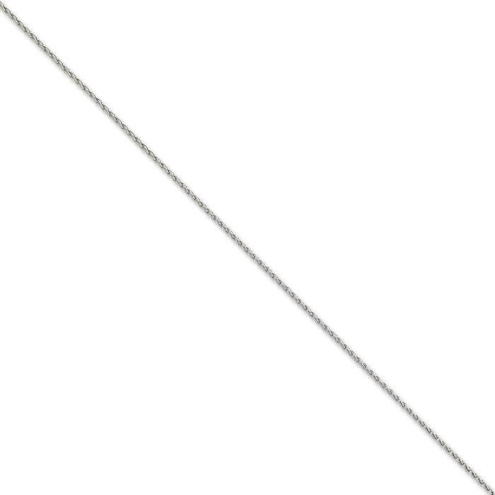 Or blanc 14 carats 1,5 mm blé Bracelet Chaîne 6 cm