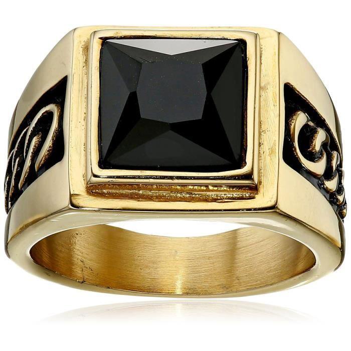 Jewel Panda 18K plaqué or en acier inoxydable gothique inspiré Cristal Noir Square Ring