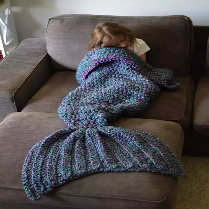 bleu la sir ne couverture tricoter couverture couverture motif queue de sir ne pour enfant et. Black Bedroom Furniture Sets. Home Design Ideas