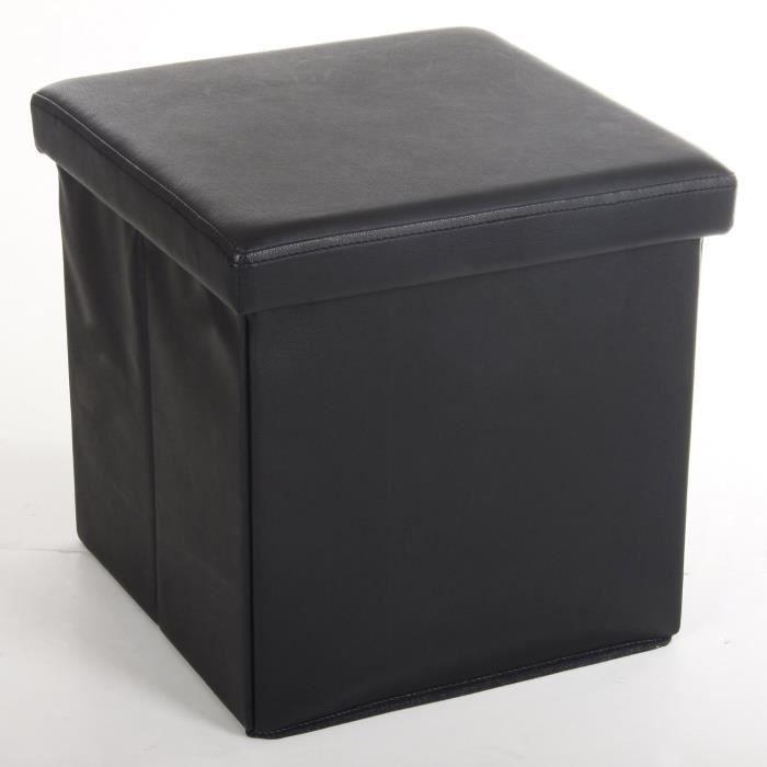Pouf Carré Noir - Coffre De Rangement Pliable - Achat / Vente