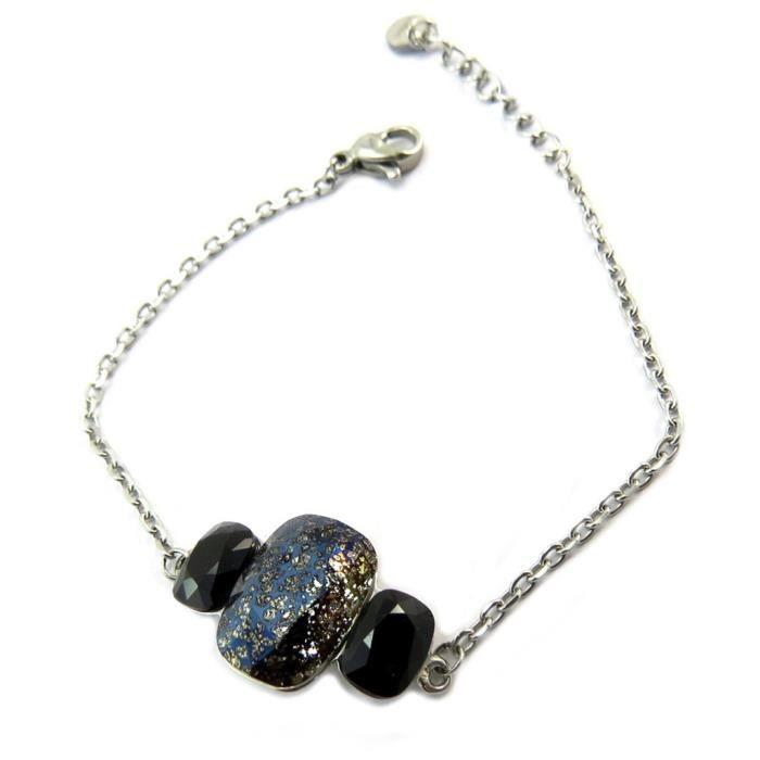 Bracelet artisanal acier Bohème noir argenté - 23x14 mm [P4135]