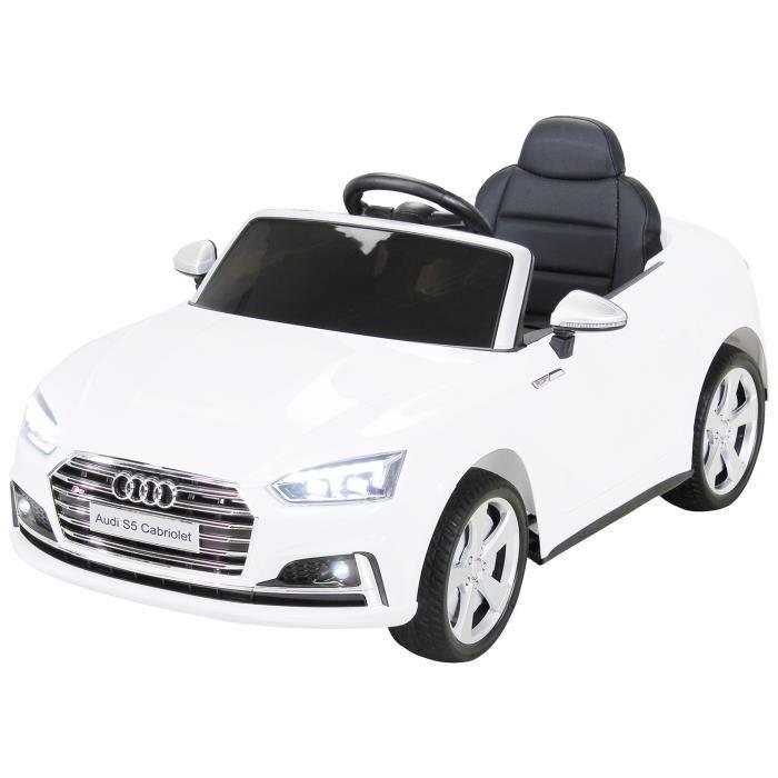937796a33552c8 Voiture électrique enfants Audi S5 Cabriolet 2x45 Watts Moteur 12V10Ah  Batterie de Cuir Siège (Blanc)