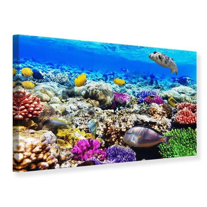 Tableau sur toile aquarium de poissons 120 x 80 cm achat for Jouet aquarium poisson