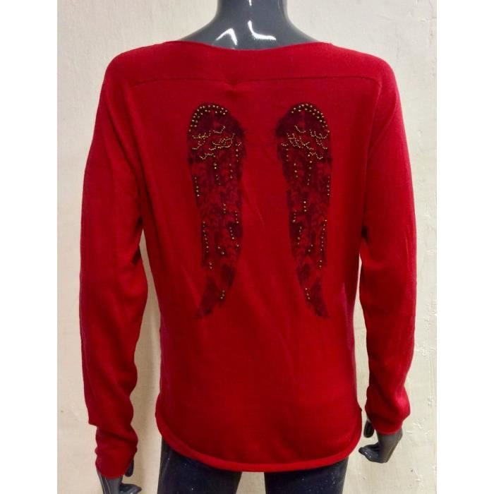 BERENICE Pull femme cachemire ailes d ange Rouge ROUGE - Achat ... 4af4be98a2e5