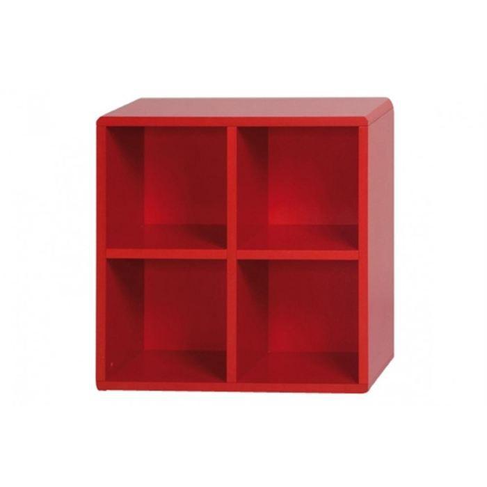 petit meuble rangement cube de rangement 4 cases rouge idclik