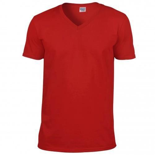T-shirt à manches courtes et col en V Gildan pour homme Rouge ... c2d4ea0291d9