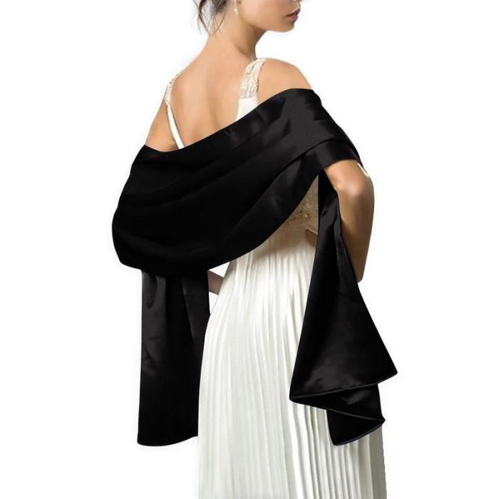 f5fcfce80a17 Écharpe Femme Châle Foulard Étole Pashmina en Satin Unicolore Elegant  Soirée Bal Mariage Cadeau Grande Taille 240x70cm Noir