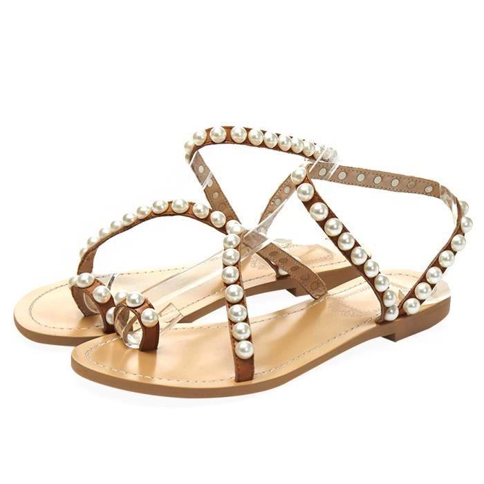 Jamron Femmes Cuir Véritable Luxe Perles Clouté Plat Anneau d'OrteilGrande Taille Sandals