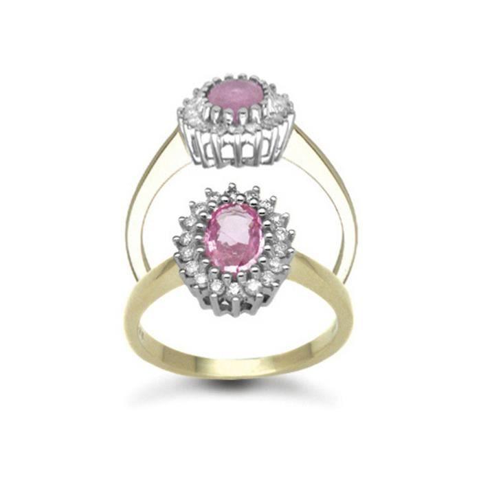 Jewelco London Or 9k Ovale Rose Saphir et Diamant Classique Royal Grappe Bague