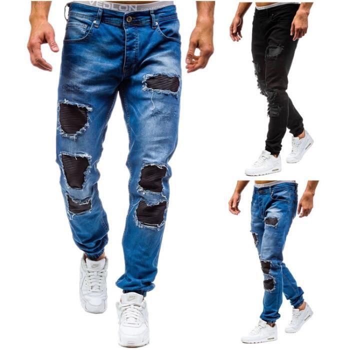 7158335bcd042 Jeans Trou Homme Pantalon Mode Noir Bleu Noir Noir - Achat / Vente ...